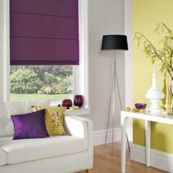 violet roman blinds