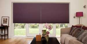 Purple pleated blinds in living room